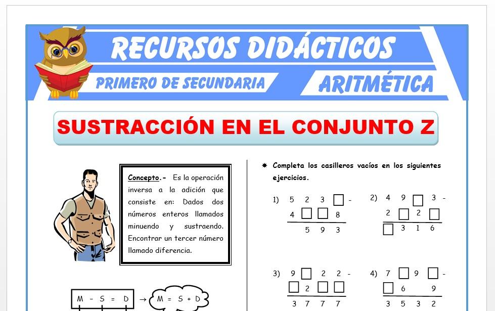 Ficha de Sustracción de Números Enteros para Primero de Secundaria