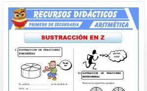 Ficha de Sustracción de Números Racionales para Primero de Secundaria