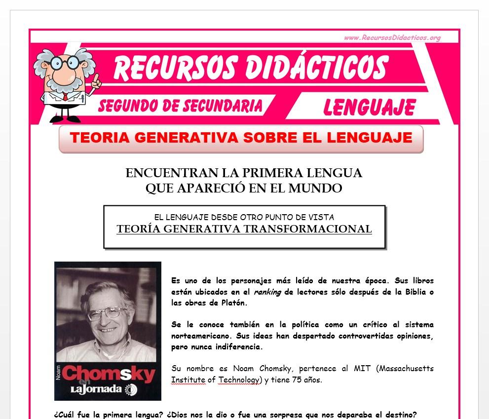 Ficha de Teoría Generativa sobre el Lenguaje para Segundo de Secundaria