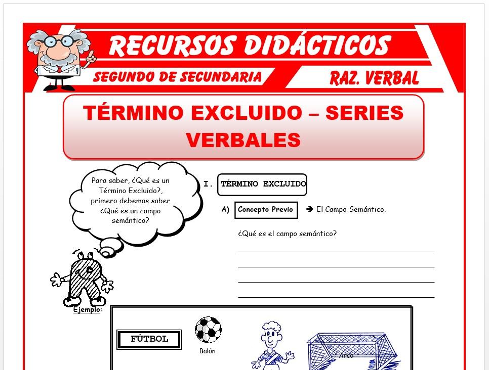 Ficha de Termino Excluido y Series Verbales para Segundo de Secundaria