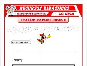 Ficha de Tipos de Textos Expositivos para Segundo de Secundaria