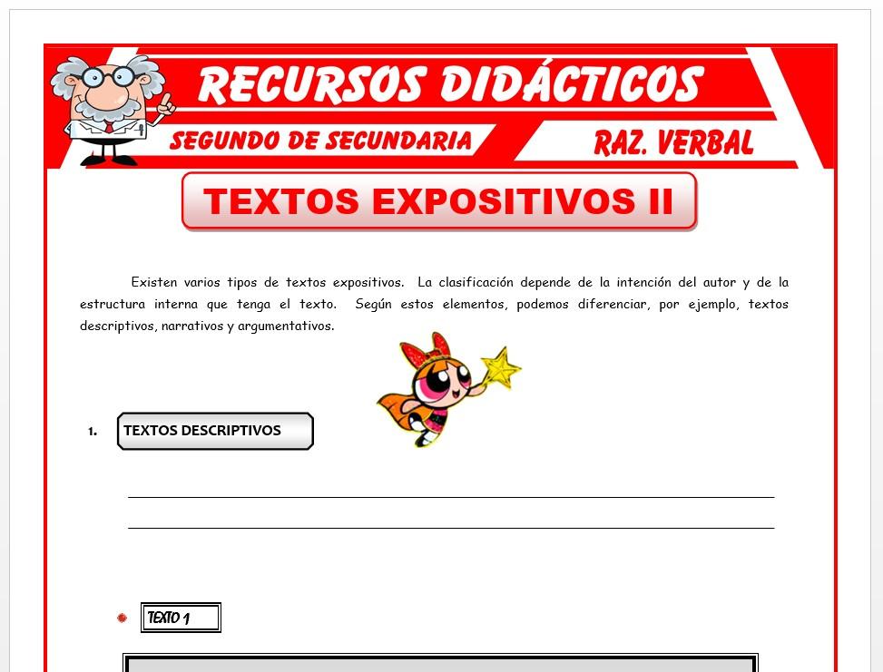 Tipos De Textos Expositivos Para Segundo De Secundaria 2020