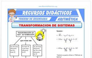 Ficha de Transformación de Sistemas de Numeración para Tercero de Secundaria