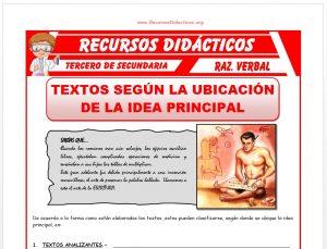 Ficha de Ubicación de la Idea Principal para Tercero de Secundaria