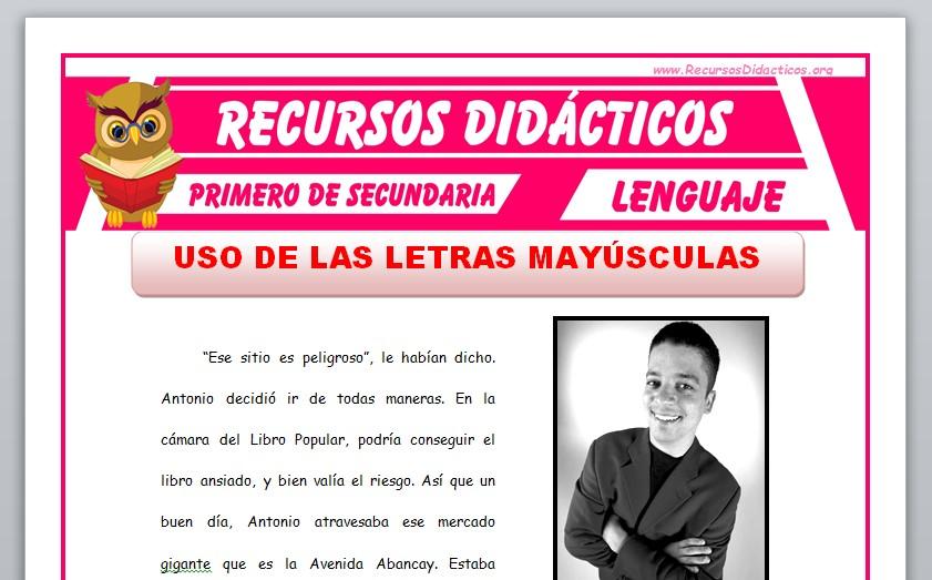 Ficha de Uso de las Letras Mayúsculas para Primero de Secundaria