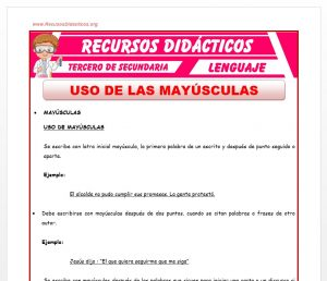 Ficha de Uso de Las Mayúsculas para Tercero de Secundaria