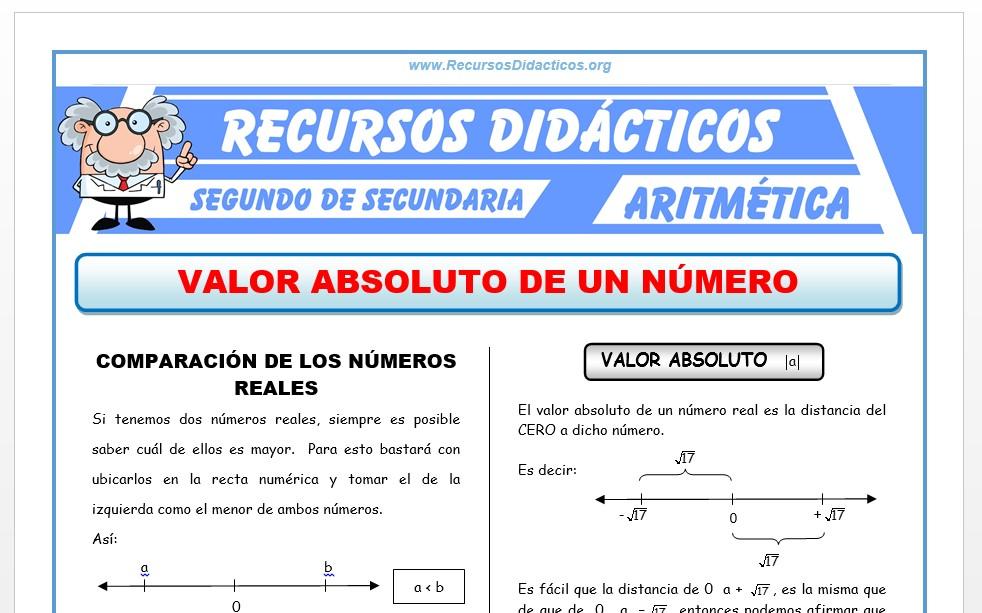 Ficha de Valor Absoluto de un Número para Segundo de Secundaria
