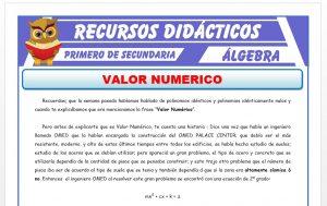 Ficha de Valor Numérico para Primero de Secundaria
