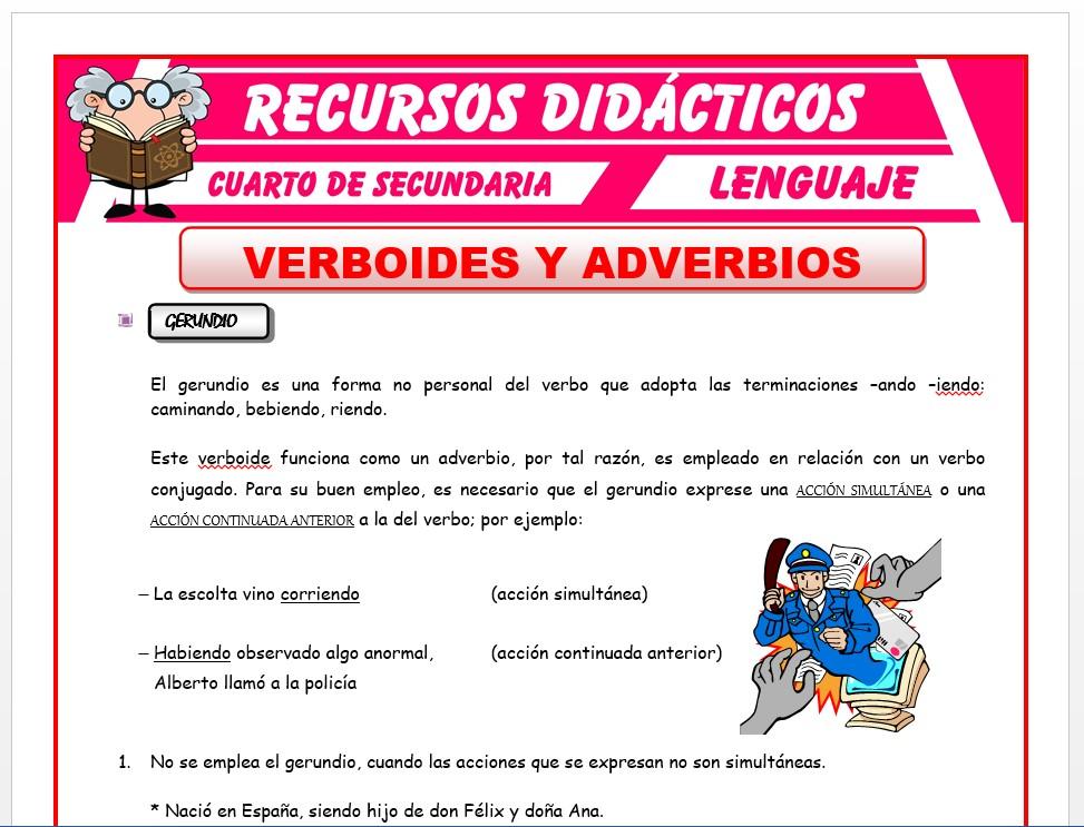 Ficha de Verboides y Adverbios para Cuarto de Secundaria
