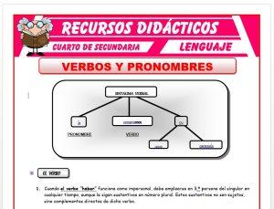Ficha de Verbos y Pronombres para Cuarto de Secundaria