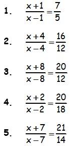 Ejemplos de ecuaciones fraccionarias