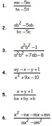 Ejemplos de Fracciones Algebraicas