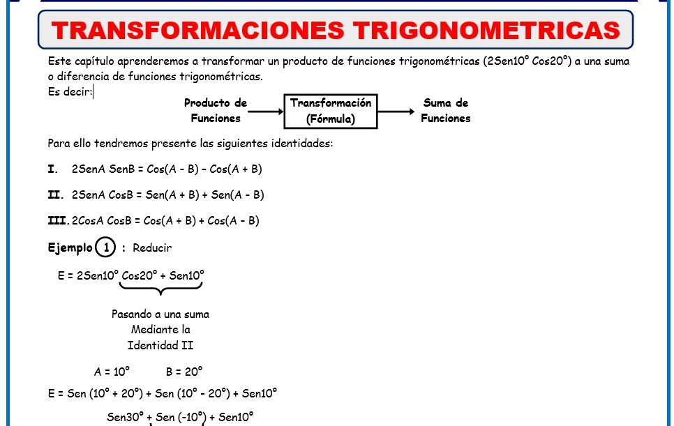 Formulas de trigonometria para quinto grado de secundaria