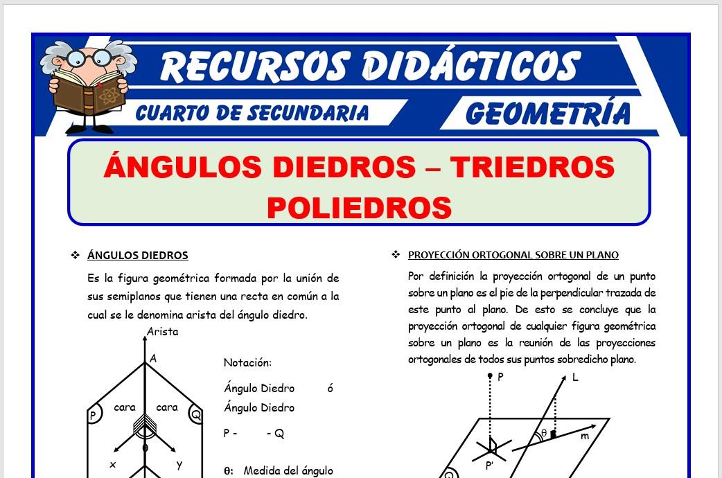 Ficha de Ángulos Diedros y Triedros para Cuarto de Secundaria
