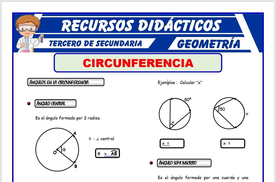 Ficha de Ángulos en la Circunferencia para Tercero de Secundaria
