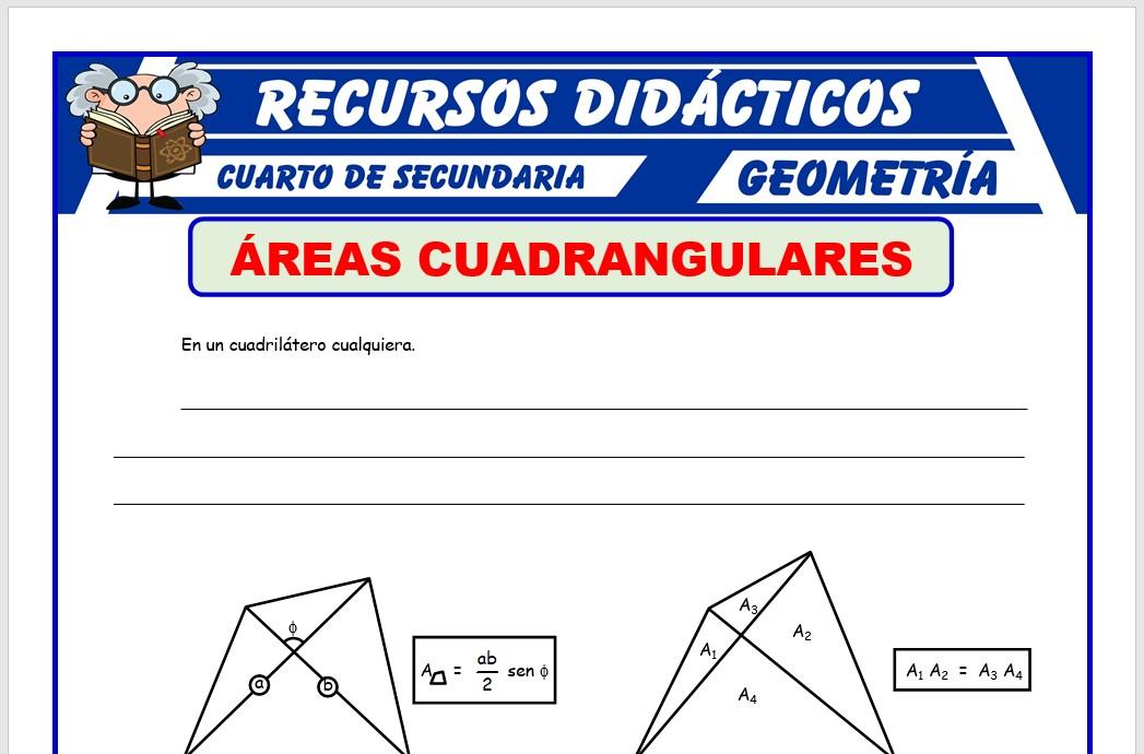 Ficha de Áreas Cuadrangulares para Cuarto de Secundaria