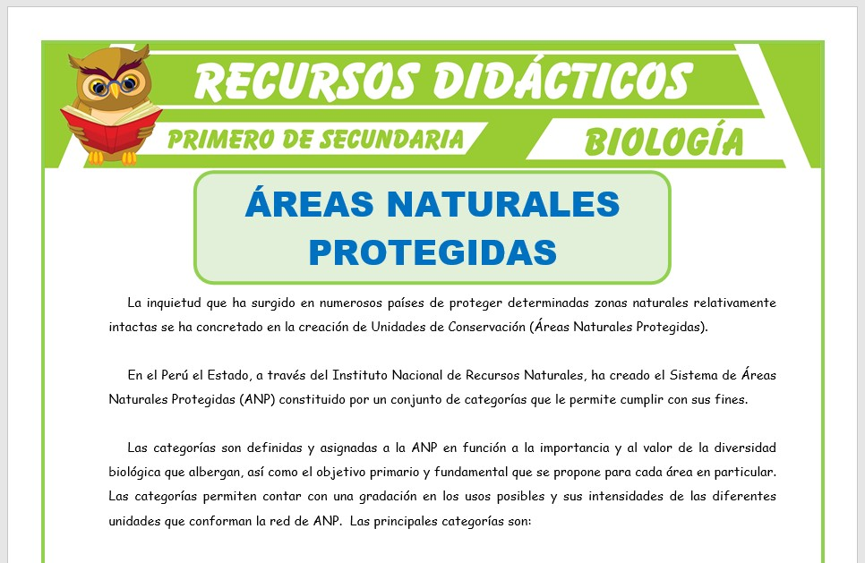 Ficha de Áreas Naturales Protegidas para Primero de Secundaria