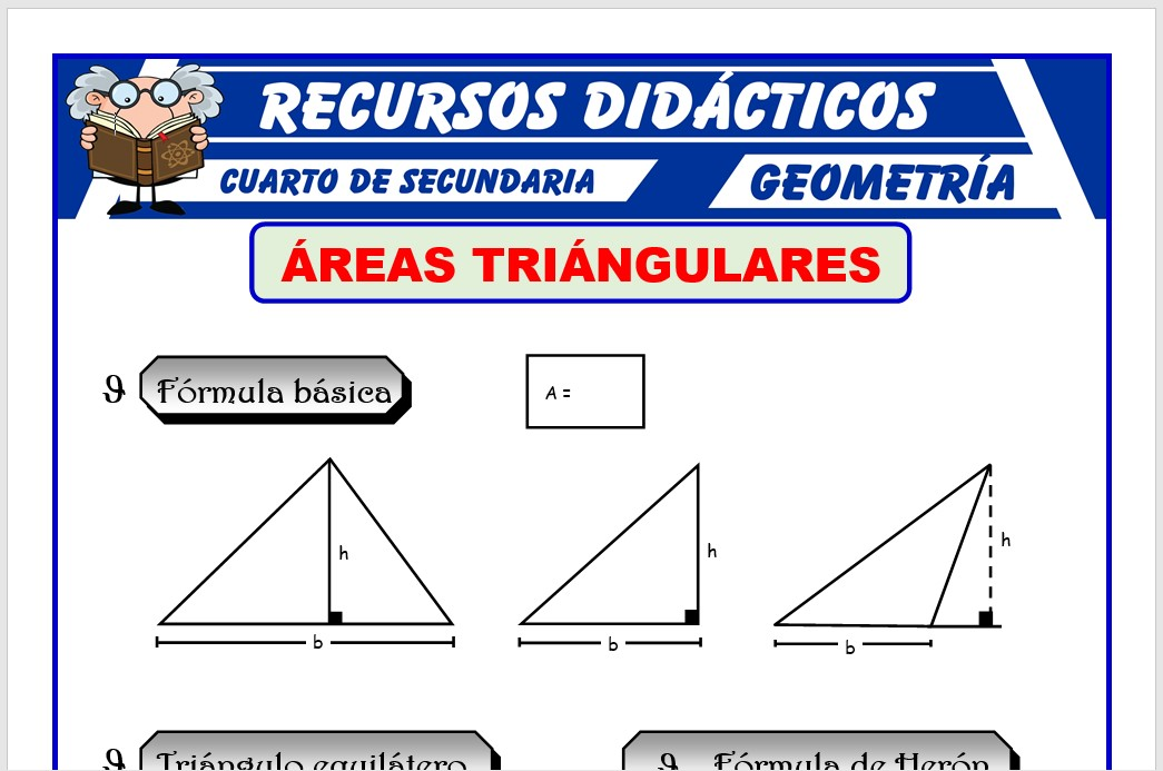 Ficha de Áreas Triangulares para Cuarto de Secundaria