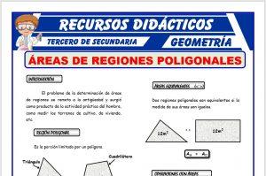 Ficha de Áreas de las Regiones Poligonales para Tercero de Secundaria