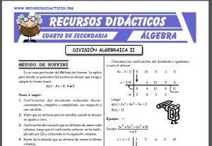 Ficha de Actividades de División Algebraica para Cuarto de Secundaria