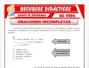 Ficha de Actividades de Oraciones Incompletas para Quinto de Secundaria