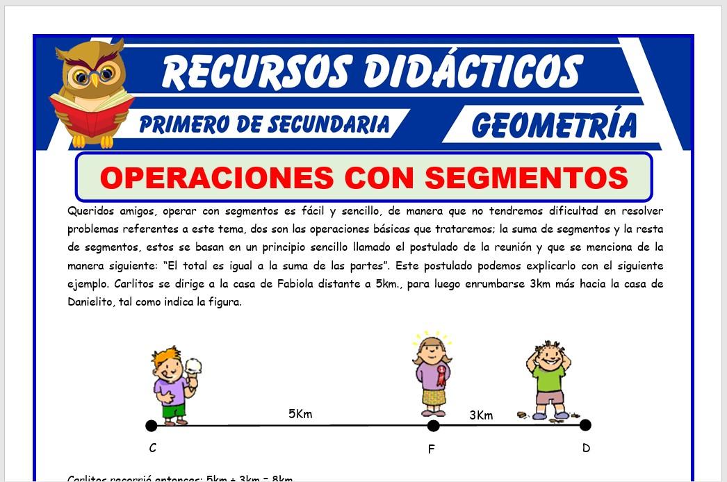Ficha de Adición y Sustracción de Segmentos para Primero de Secundaria