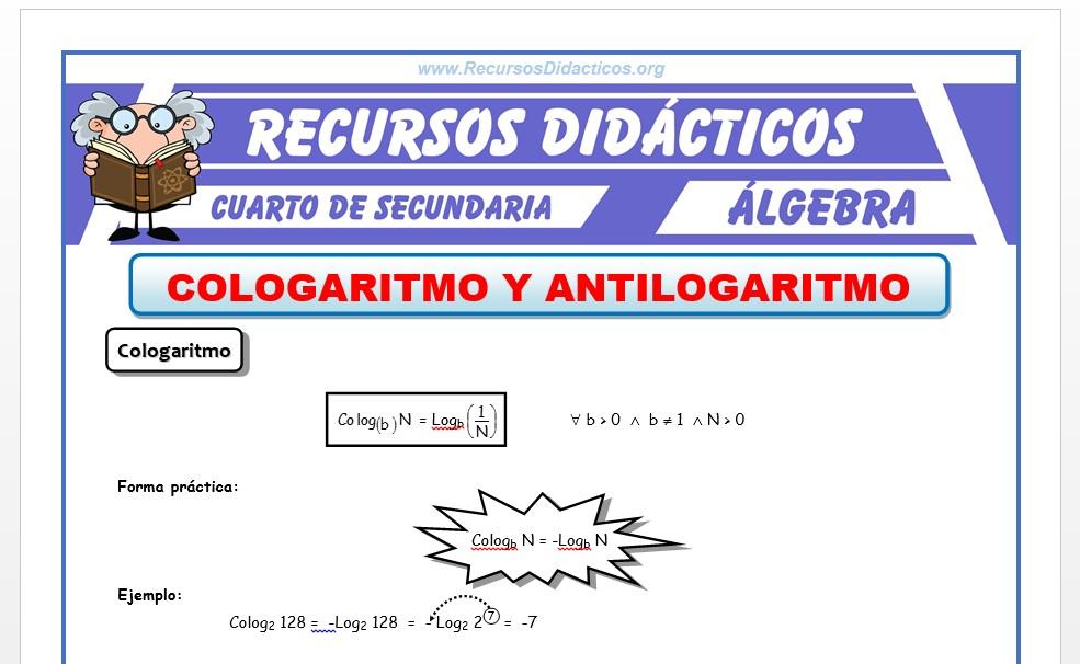 Ficha de Antilogaritmo y Cologaritmo para Cuarto de Secundaria