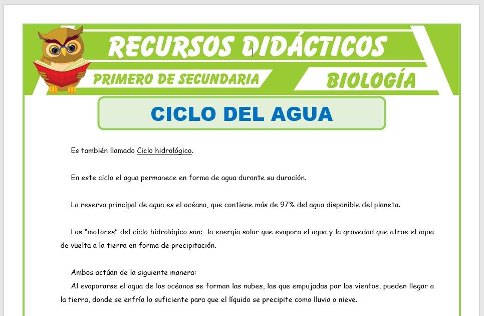 Ficha de Ciclo del Agua para Primero de Secundaria