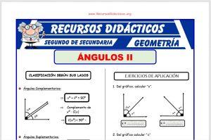 Ficha de Clasificación de los Ángulos para Segundo de Secundaria