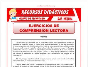 Ficha de Comprensión de Lectura ejercicios para Quinto de Secundaria