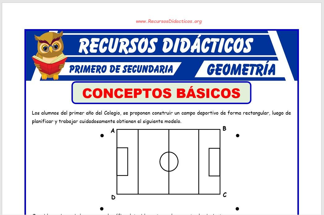 Ficha de Conceptos Básicos Geométricos para Primero de Secundaria