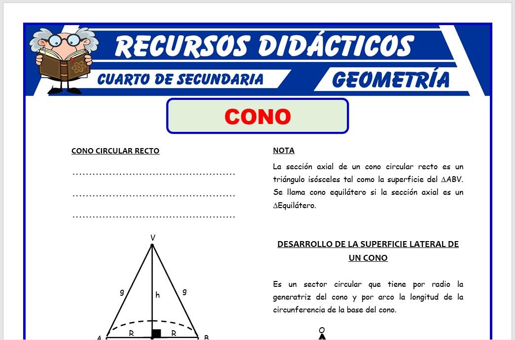 Ficha de Cono Circular Recto para Cuarto de Secundaria