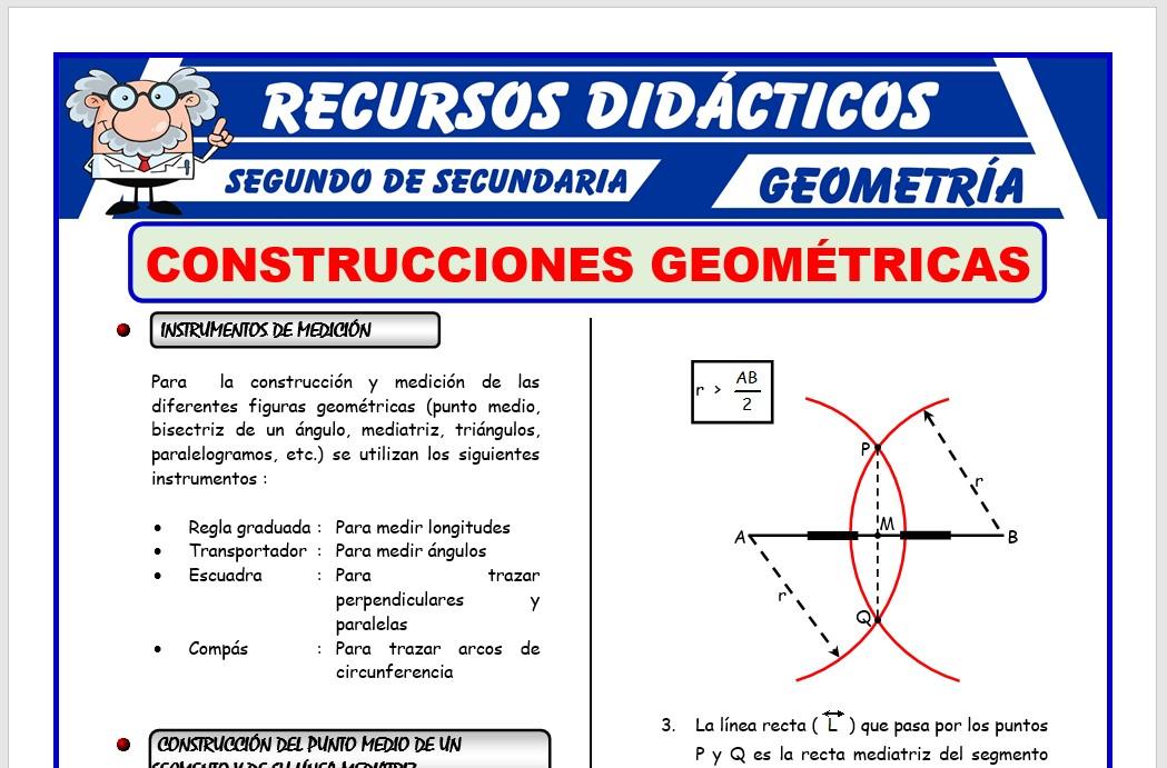 Ficha de Construcciones Geométricas para Segundo de Secundaria