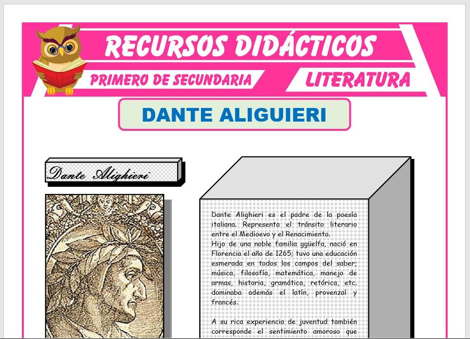 Ficha de Dante Alighieri para Primero de Secundaria