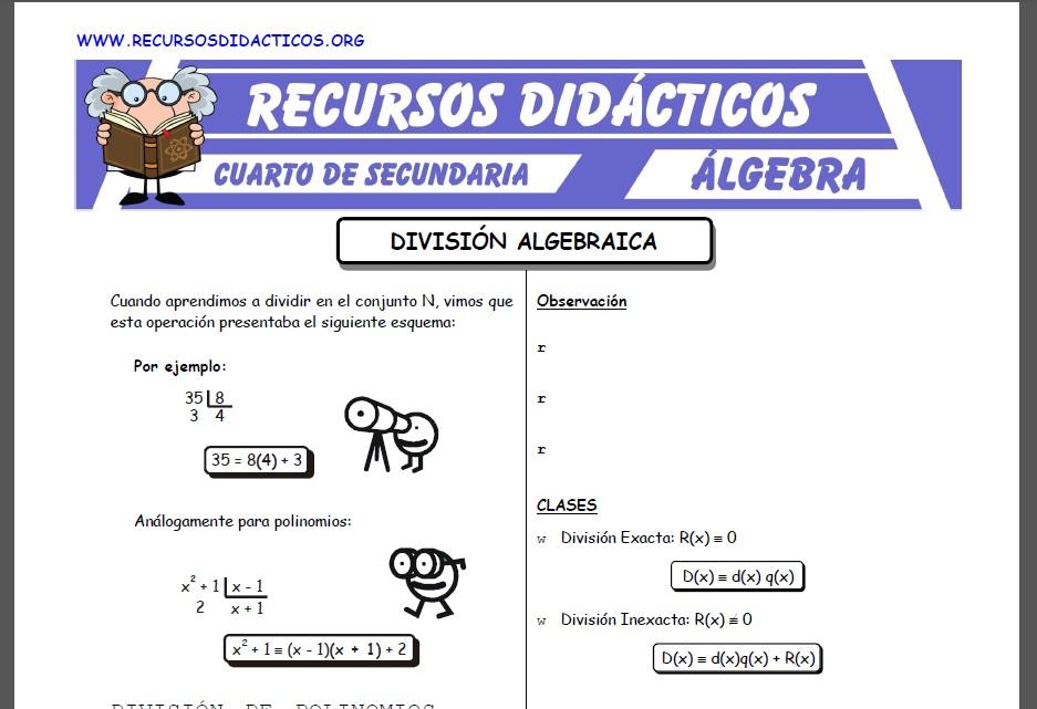 Ficha de División Algebraica para Quinto de Secundaria
