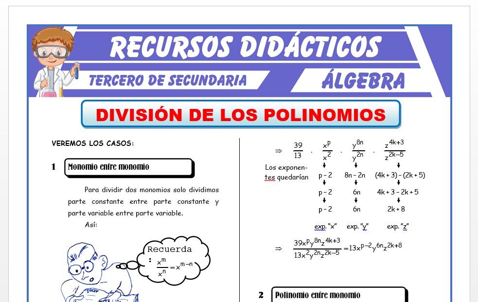 Ficha de División de Polinomios para Tercero de Secundaria