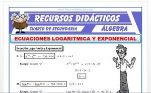 Ficha de Ecuacion Exponencial y Logarítmica para Cuarto de Secundaria