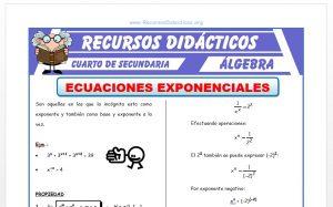 Ficha de Ecuaciones Exponenciales para Cuarto de Secundaria