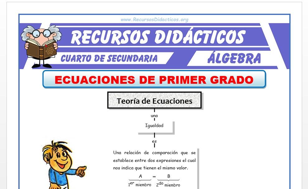 Ficha de Ecuaciones de 1° Grado para Cuarto de Secundaria