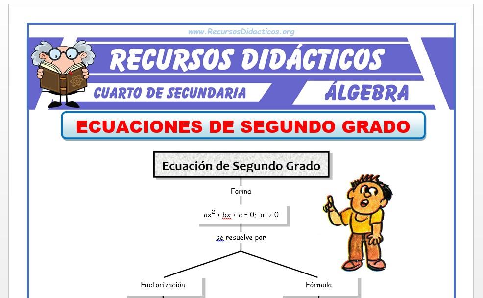 Ficha de Ecuaciones de 2° Grado para Cuarto de Secundaria