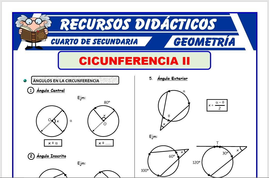 Ficha de Ejercicios de Ángulos en la Circunferencia para Cuarto de Secundaria