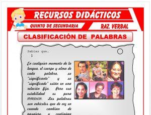 Ficha de Ejercicios de Clasificación de Palabras para Quinto de Secundaria