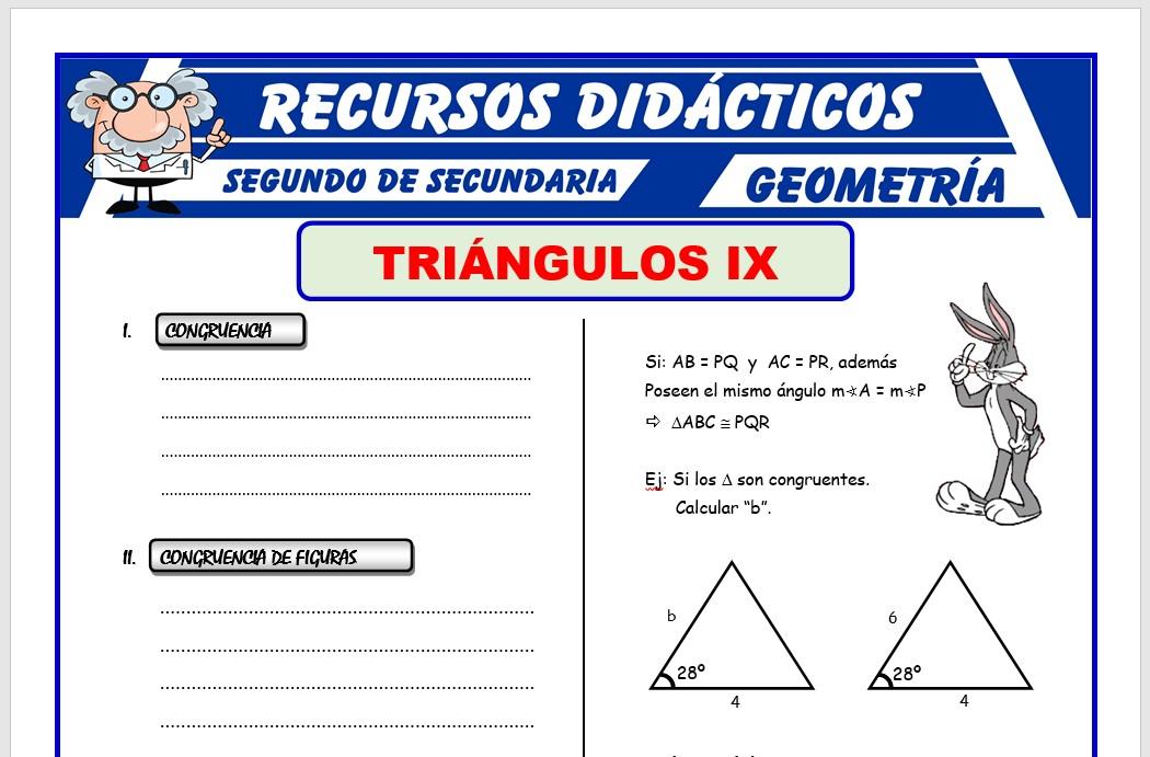 Ficha de Ejercicios de Congruencia de Triángulos para Segundo de Secundaria