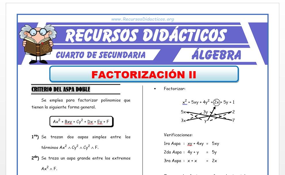 Ficha de Ejercicios de Factorización 2 para Cuarto de Secundaria