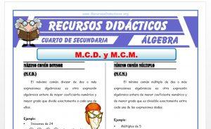 Ficha de Ejercicios de MCD y MCM de Polinomios para Cuarto de Secundaria