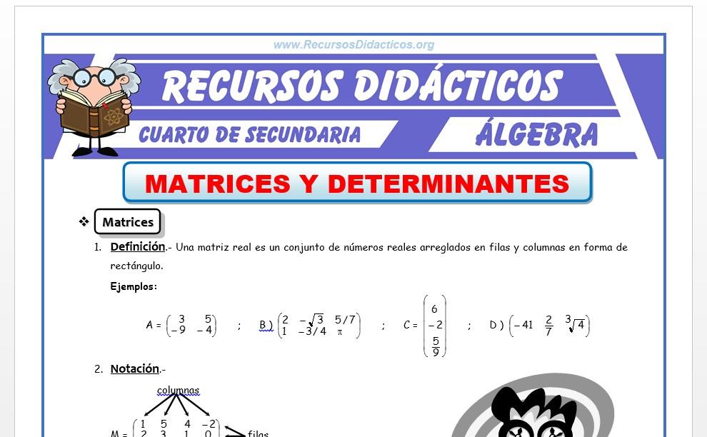 Ficha de Ejercicios de Matrices y Determinantes para Cuarto de Secundaria