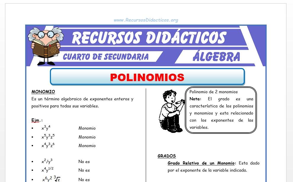 Ficha de Ejercicios de Polinomios para Cuarto de Secundaria