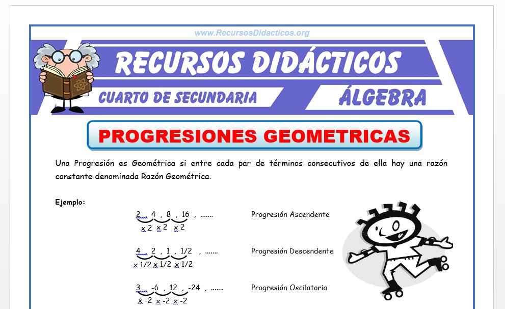 Ficha de Ejercicios de Progresión Geométrica para Cuarto de Secundaria