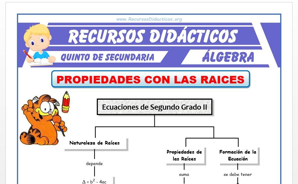 Ficha de Ejercicios de Propiedad de las Raices para Quinto de Secundaria