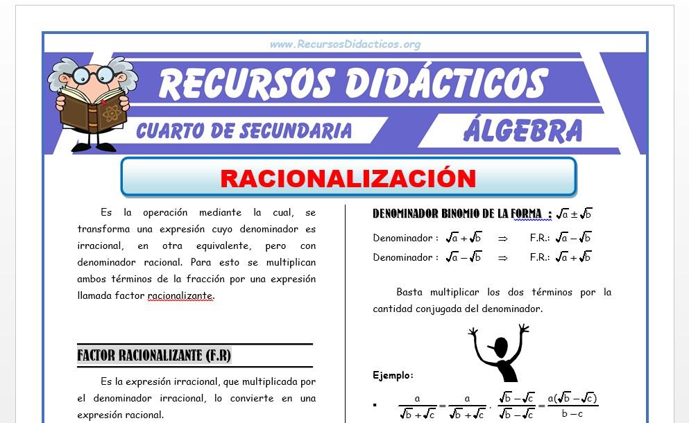 Ficha de Ejercicios de Racionalización para Cuarto de Secundaria